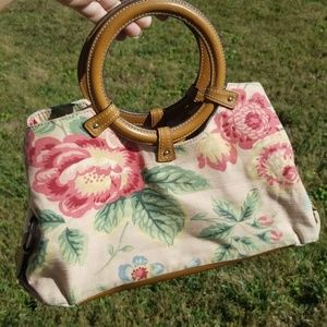 Fossil floral and leather handbag